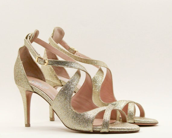 Gold wedding shoes Gold women shoes Gold bridesmaids shoes