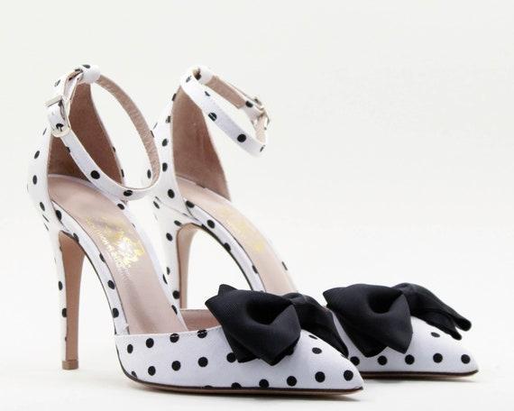Bow heels Polka dot shoes women Wedding shoes Bows White shoes | Etsy