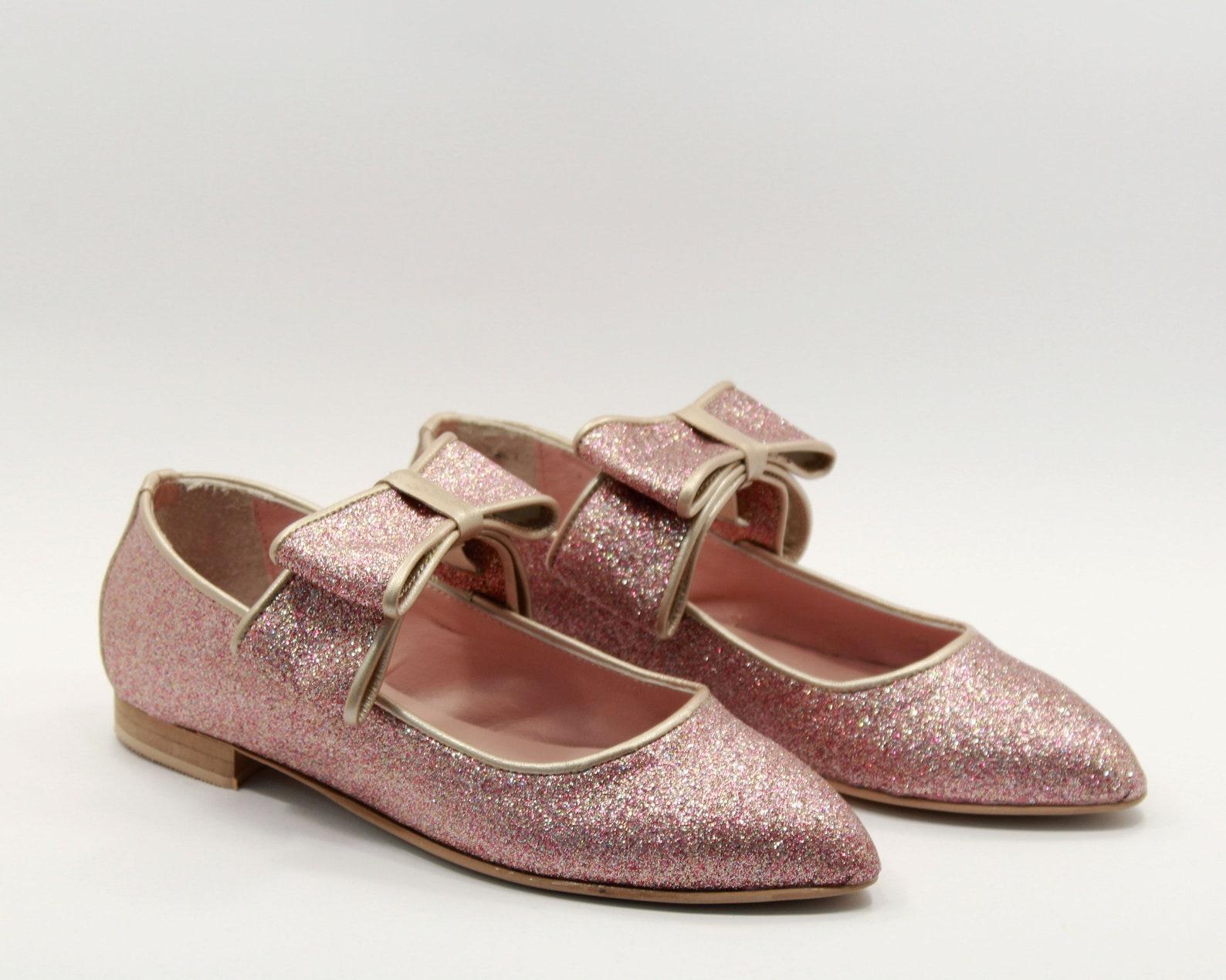 pink glitter women shoes flats glitter shoes bows ballerinas pink bows womens pink shoes nude ballet pink glitter flats handmade