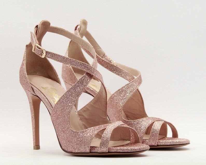 f05f3de46e43 Mariage en or rose chaussures à talons Or Rose paillettes