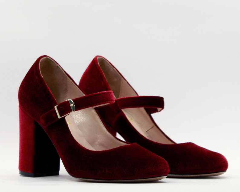 0c06de08b71 Velvet shoes burgundy Burgundy heels Women shoes velvet High