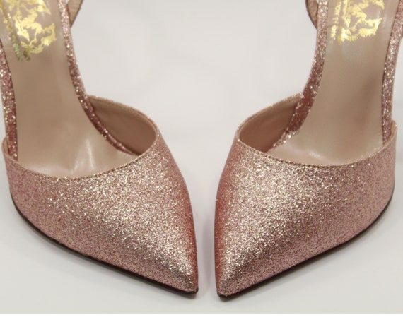 abfdc784cbb Rose gold bridal shoes Rose gold heels Glitter shoes Rose gold