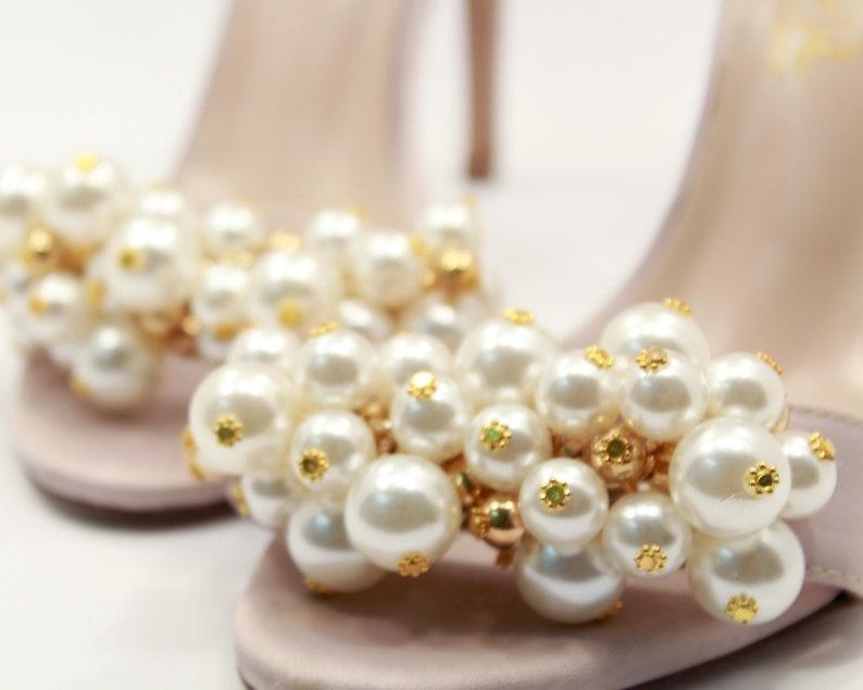 Pink wedding shoes Pearl heels Bridal Pearls Sandals pink