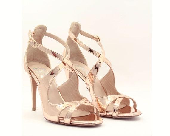 Rose gold wedding shoes Rose gold heels Bridal heels high  58255f2945