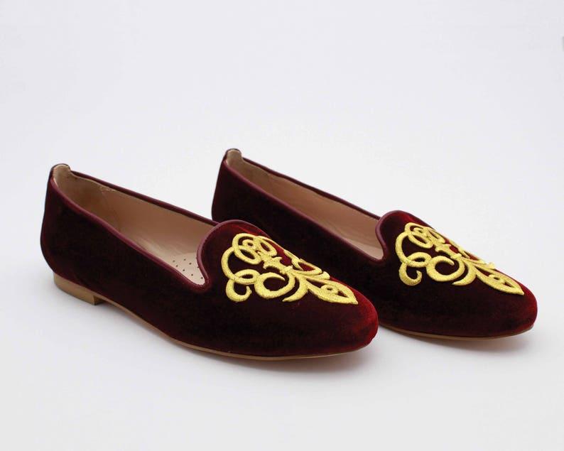 7fde88d92ba Velvet slippers Burgundy shoes Velvet leather flats Flat shoes