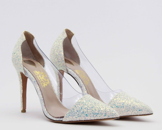 0c4a293ac7af White Glitter wedding shoes Leather heels Wedding shoes