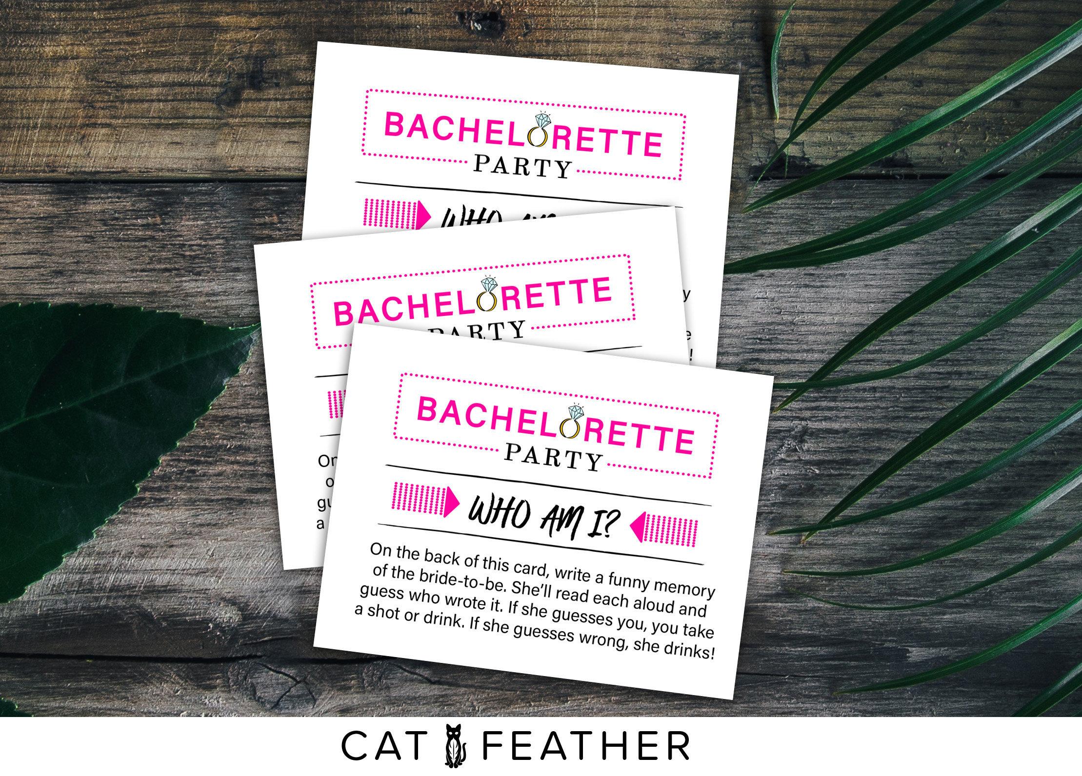 Who Am I Bachelorette Game Printable Bachelorette Party | Etsy