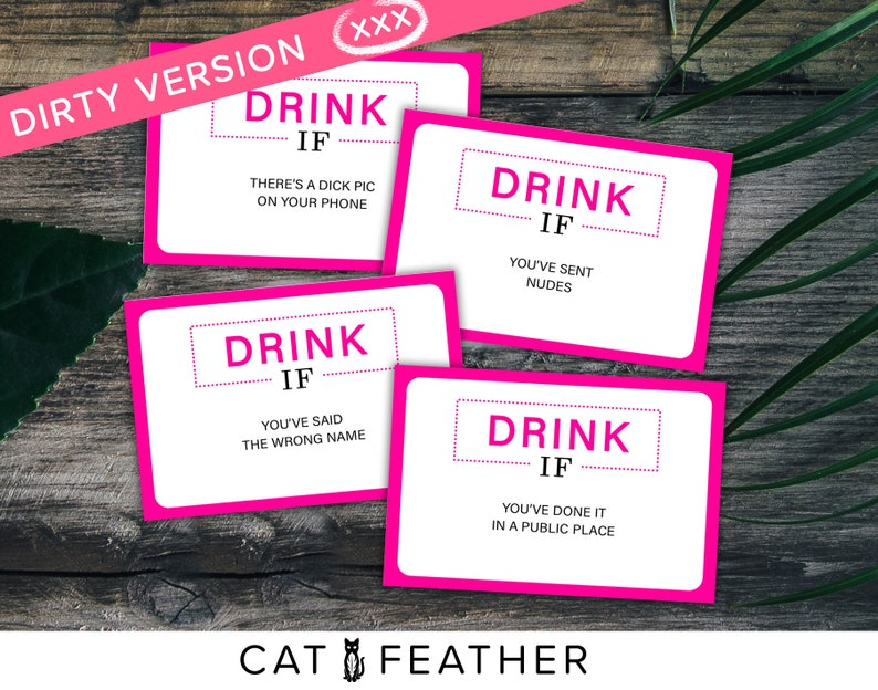 b00ab23082 Naughty Bachelorette Game, Bridal Shower Games, Hens Party Game, Dirty  Drink If Game, Naughty Bridal Games, Funny Bridal Games, Pink