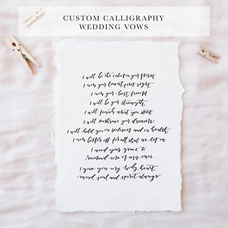 Writing Wedding Vows.Custom Wedding Vow Calligraphy First Anniversary Gift Gift For Spouse Hand Written Wedding Vows Custom Calligraphy Wedding Gift