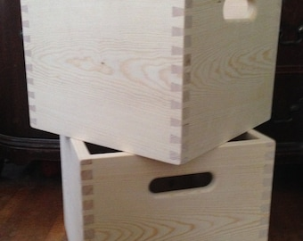 Wooden Pine Dovetailed Storage Crate