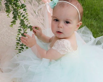 """The """"Saphira"""" Mint Tulle and Lace Flower Girl Dress, Girls Mint Tulle Dress, Infant Tulle and Lace Dress, Mint Tulle Flower Girl Dress"""