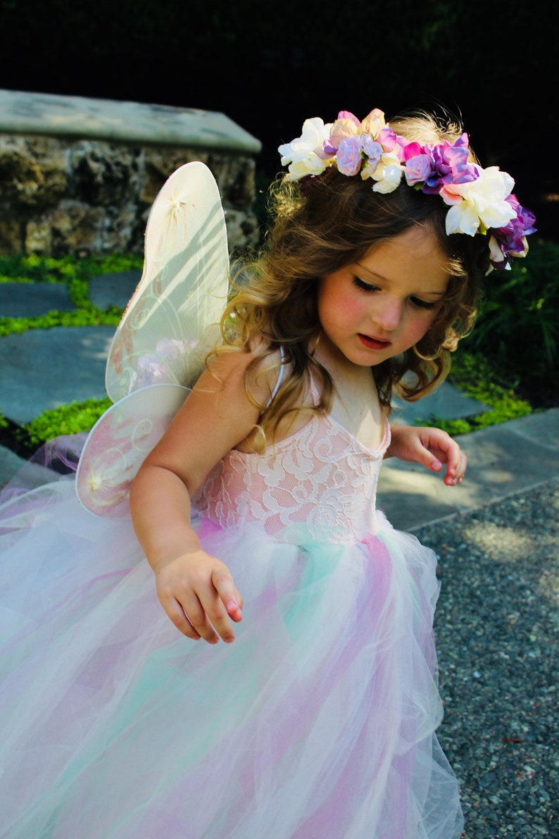 Pastel tulle lace fairy set infant and girls pastel tulle fairy dress with wings and flower crown pastel tulle fairy dress pastel fairy