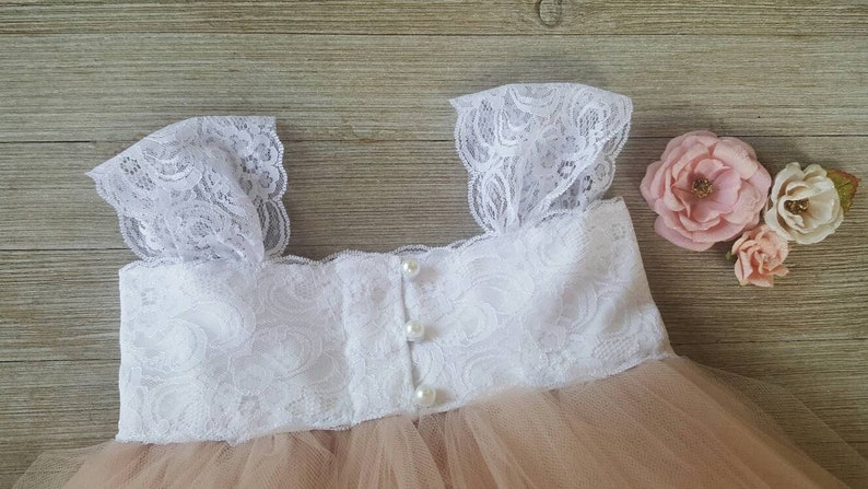 Girls Blush Tulle Dress Baby Christening Dress The Saphira Blush Tulle and Lace Flower Girl Dress Infant Tulle and Lace Dress