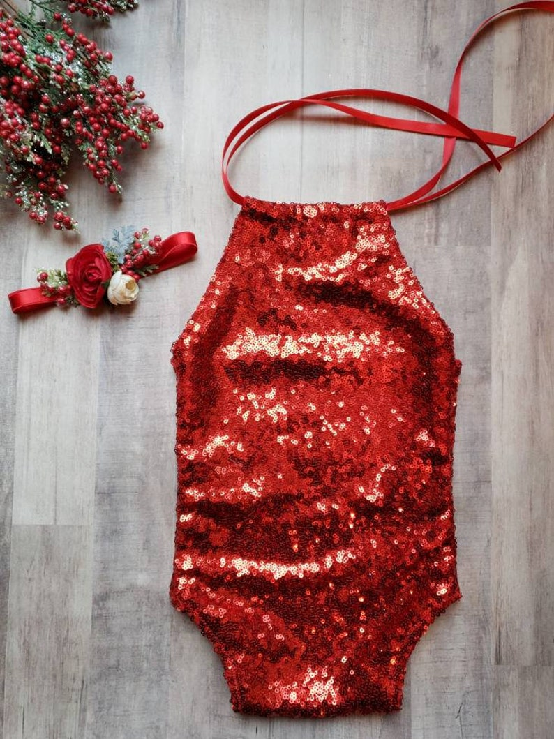 04371e6da76 6-12M READY TO SHIP baby girls holiday sequin romper and