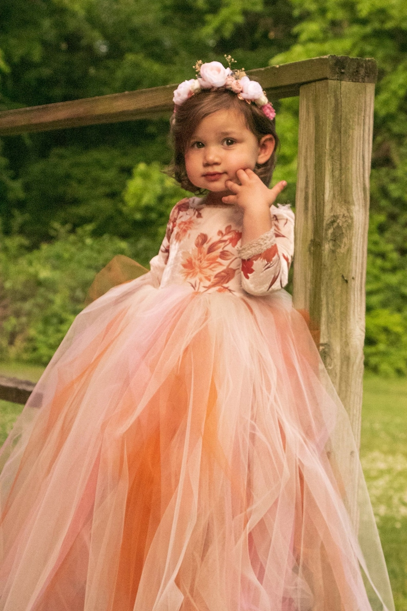 6d6b68d0697 Boho tulle flower girl dress girls boho autumn tulle dress