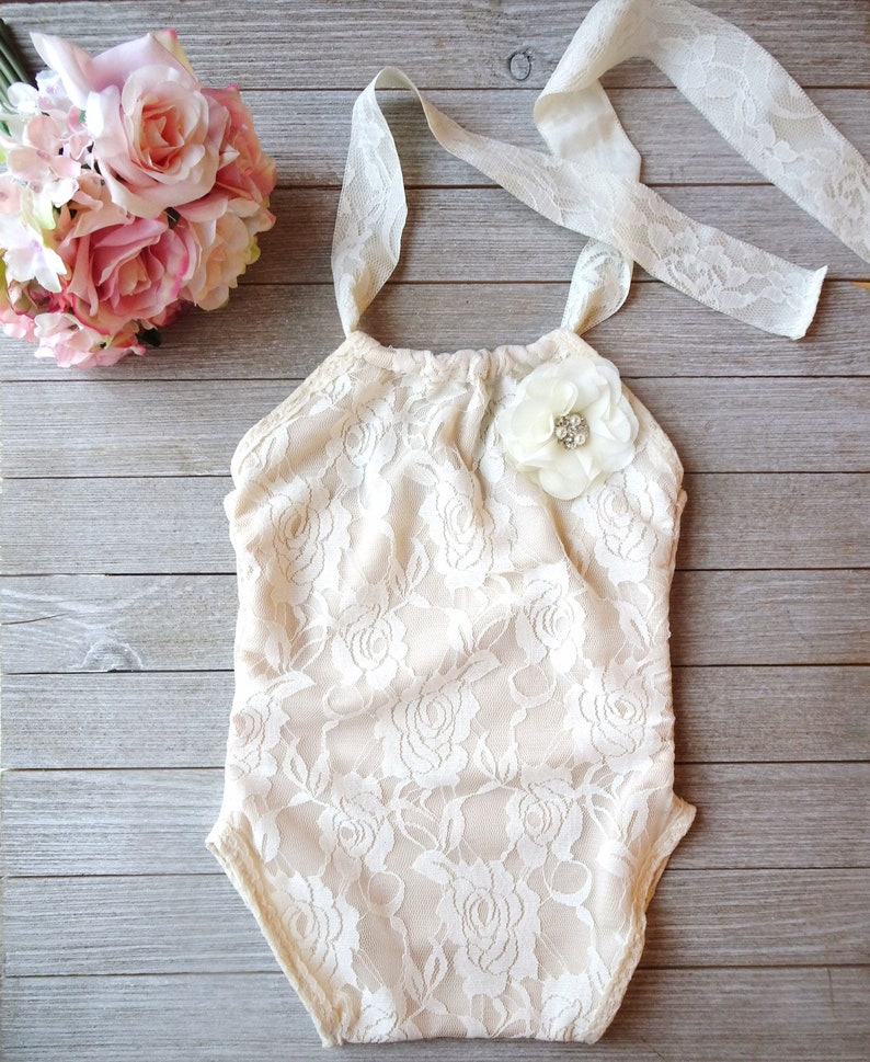 b9236a22f23 Ready to ship 9-12M ivory lace romper bodysuit baby girls
