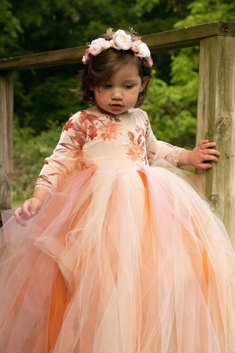 ce8871b126 Boho tulle flower girl dress girls boho autumn tulle dress