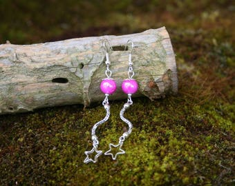Earrings Pearl and pink star - glass beads - zig - zag stitch