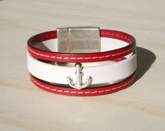 Women bracelet leather cuff 20 mm - anchor - red white and stitched - magnetic clasp *.