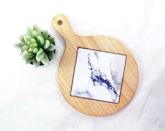 Wood Trivet Tile Hot Plate Marble Print Kitchen Decor