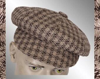 Vintage Tweed Newsboy Cap - Small