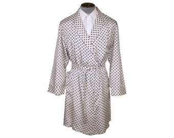 030ad2a91a Vintage 1970s Mens Dressing Gown by Belair White Acetate Lounging Robe Size  L