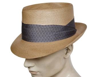 fae38bb9415 Vintage 1950s Dobbs Straw Fedora Hat Wide Band Kolmer Marcus Size 7 1 8