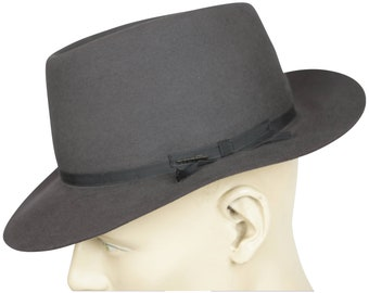 d0f32fe5b443f1 Vintage Stetson Royal Deluxe Indented Flat Top Fedora Hat Grey Size 7