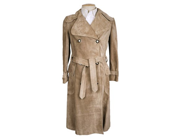 clients first new cheap where can i buy Vintage 1970s Mens Mod Trench Coat Tan Brown Suede Italian Quality Size S /  M