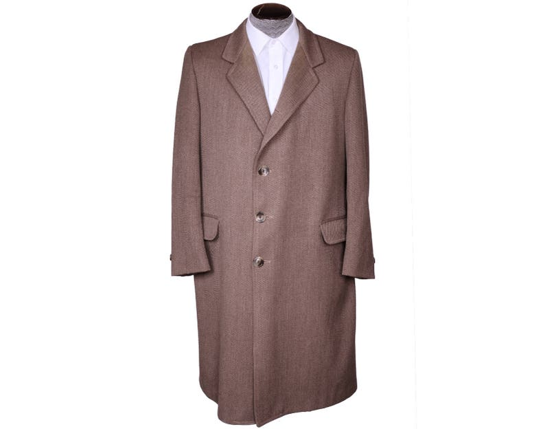 c9a48263b Vintage 1950s Mens Overcoat 1950s Brown Twill Wool Coat Topcoat Size M L