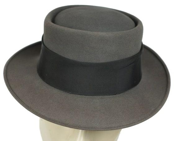 Vintage Pork Pie Hat 1940s 50s Flat Top Fedora Lee