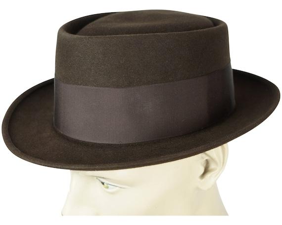 Vintage Adam Pork Pie Hat 1940s 50s Flat Fedora St