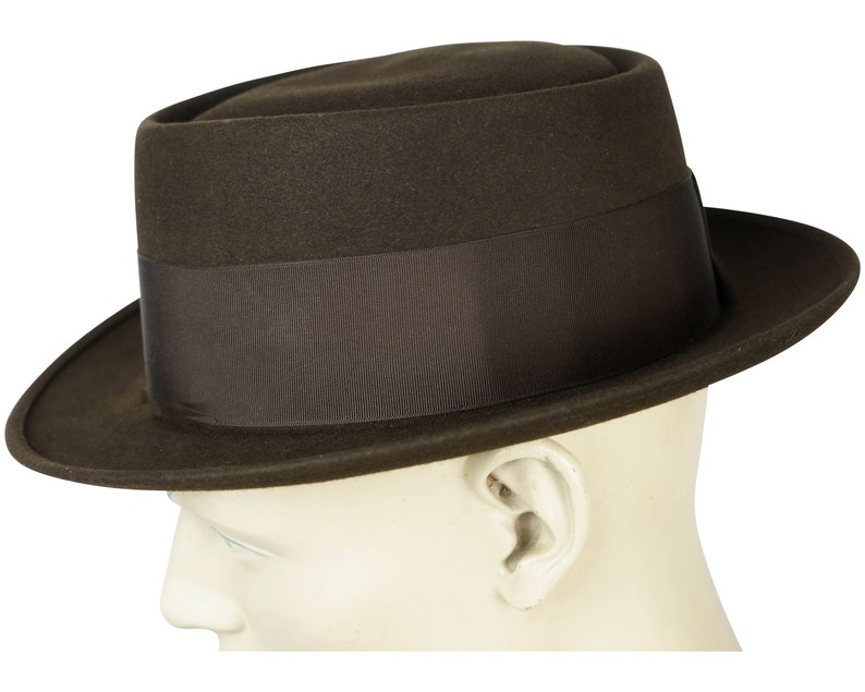 Vintage Adam Pork Pie Hat 1940s 50s Flat Fedora Style 7 14