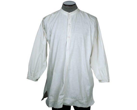 Antique Victorian Mens Shirt White Cotton Dorset B