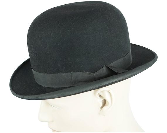 Vintage Mens English Bowler Hat Moores London Blac