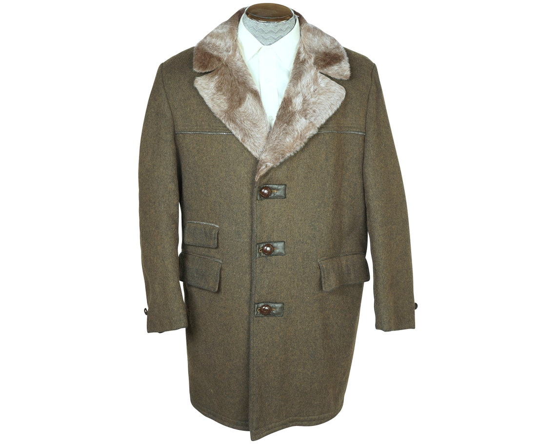 Vintage 70s Mens Overcoat Acme Waterproof Wool Coat Sz M L