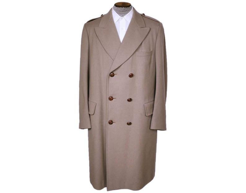 675b624215e4 Vintage 60s Aquascutum Mens Overcoat Military Style Beige Wool | Etsy