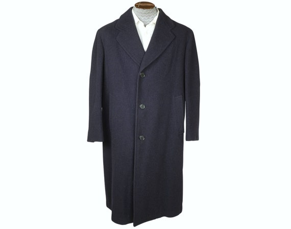 Vintage 1940s Mens Wool Coat Overcoat Slate Blue S