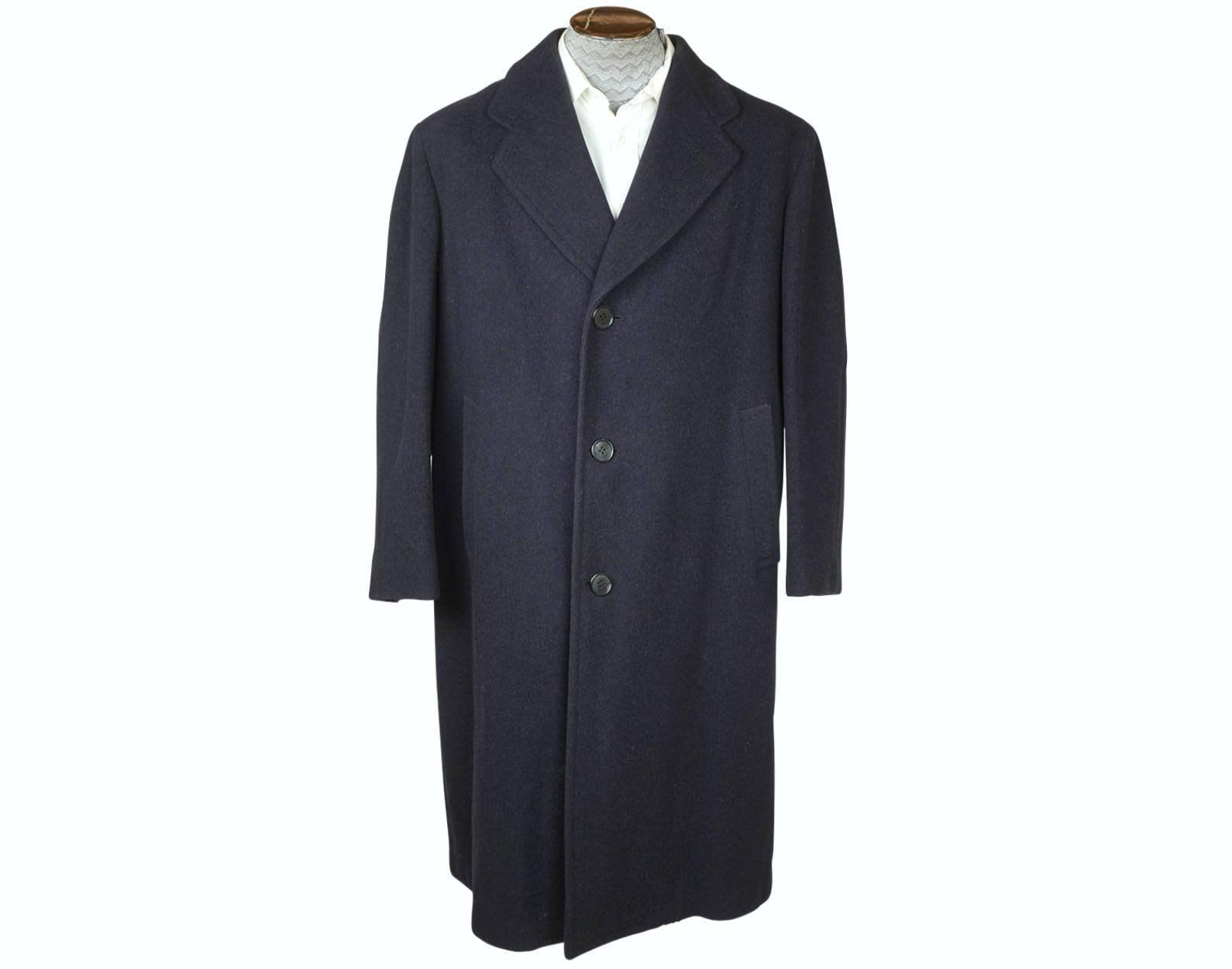 1940s Mens Ties | Wide Ties & Painted Ties Vintage 1940S Mens Wool Coat Overcoat Slate Blue Size L The Trooper Robin Hood $60.00 AT vintagedancer.com