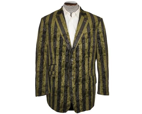 Vintage Brocade Velvet Jacket Green & Black Stripe