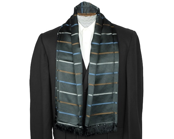 Vintage 60s Mens Silk Scarf Striped Black Shawl Br