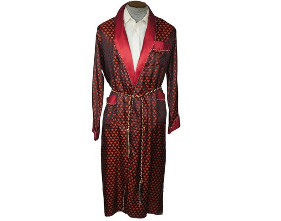 Vintage Mens Dressing Gown Woven Satin Robe with N