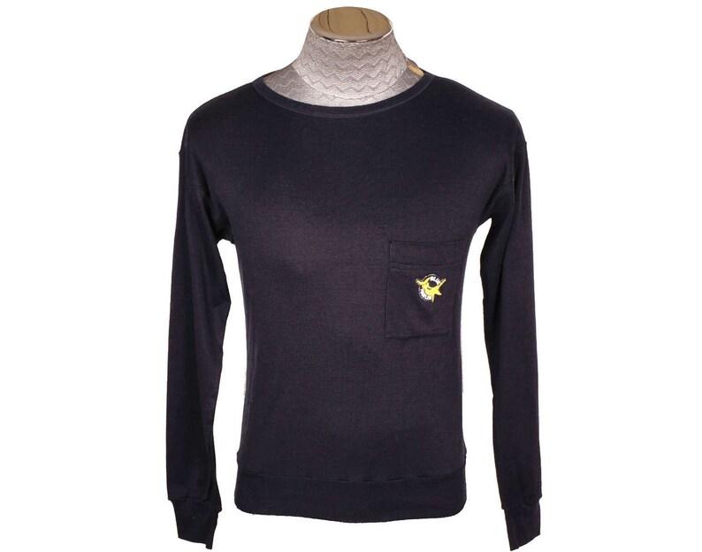 8c65d2fb Vintage Ermenegildo Zegna Sailing Sport Shirt Blue Marlin Long Sleeved  Cotton T-Shirt