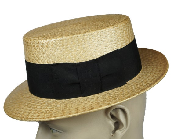 Vintage 1920s 30s Straw Boater Hat Mens Size Small