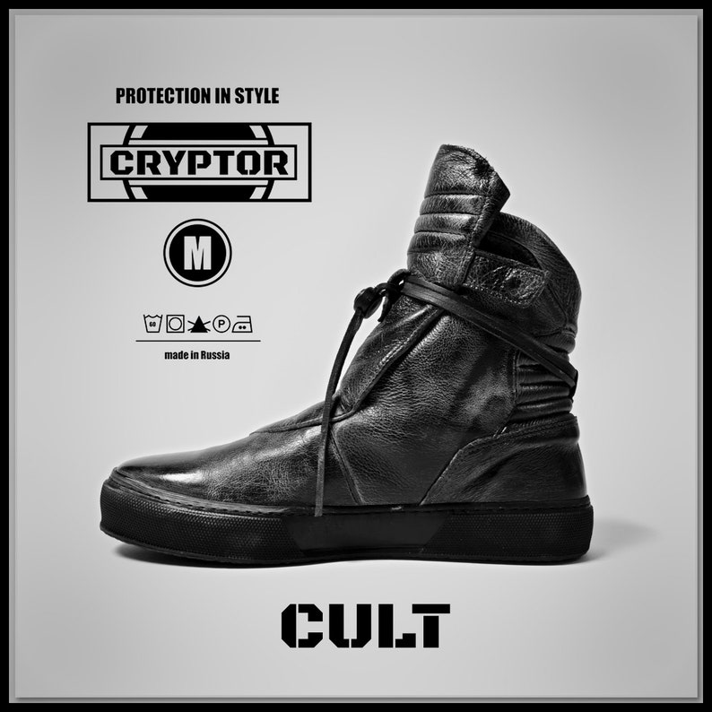 dd8c4192a4e5 CULT by CRYPTOR PT01 Black mens boots cyberpunk style shoes