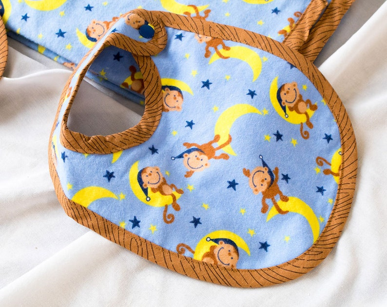 Flannel Baby Blanket 3 pc Set Med Baby Shower Gifts for Her Infant Handmade  Boutique Quality Cute A6 Blue Monkeys on the Moon