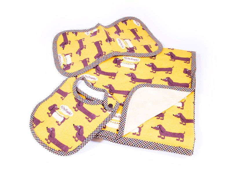 I/'m Frank Dachtsund Dogs on Mustard Yellow C46 Flannel Baby Blanket 3 pc Set Hi Baby Shower Gifts for Her Infant Handmade Quality Cute