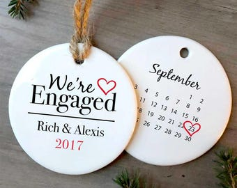 Our First Christmas Engaged Ornament/Personalized Ornament/She Said Yes/Engagement Gift/Holiday Engagement/Mr. and Mrs. Modern/Engagement