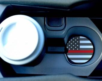 Thin Red Line Car Coasters/American Car Coasters/Sandstone Car Coasters/Red lives matter/Firefighter car coaster/Hero coasters/Thin red line