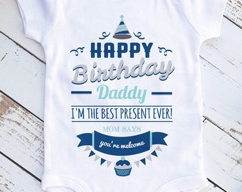 Happy Birthday Daddy Present Infant Clothing Bodysuit Romper Baby Leotard Creeper Shirt